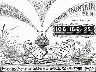 Advert for Swan Fountain Pens, from an Illustrated Trade Catalogue, C.1900-10--Giclee Print