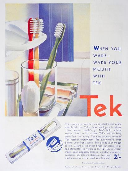Advert for Tek Toothbrushes, by Johnson and Johnson, 1931--Giclee Print