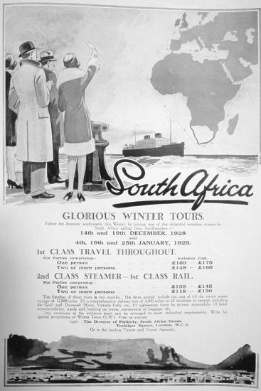 Advert for Winter Tours of South Africa, 1928--Giclee Print