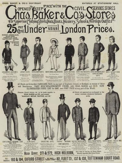 Advertisement, Charles Baker and Co's Stores--Giclee Print