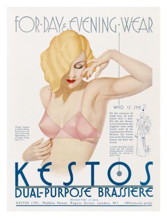 Vintage Lingerie advertising poster reproduction Kestos