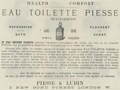Advertisement, Eau Toilette Piesse--Giclee Print
