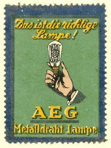 Advertisement for Aeg Electric Light Bulbs