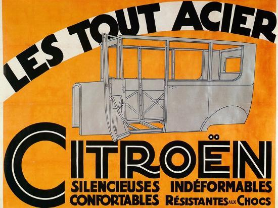 Advertisement for all-steel Citroen cars, c1924-Unknown-Giclee Print