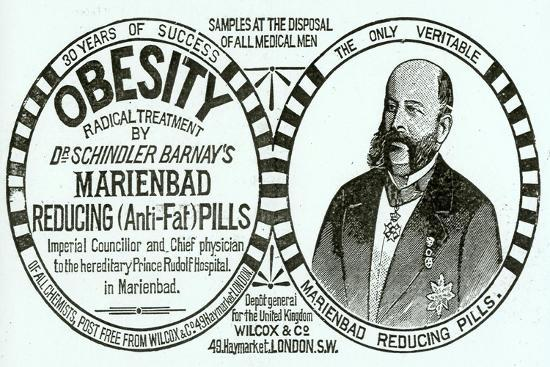 Advertisement for 'Dr. Schindler Barnay's Marienbad Reducing (Anti-Fat) Pills, 1890s-English School-Giclee Print