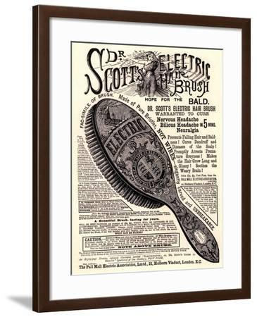 Advertisement for 'Dr. Scott's Electric Hairbrush', 1890s--Framed Giclee Print