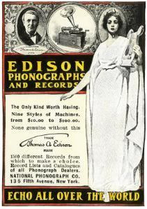Advertisement for Edison Phonographs and Records, National Phonograph Co., 1901