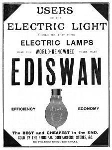 Advertisement for Ediswan Incandescent Light Bulbs, 1898