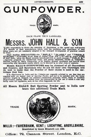 Advertisement for Gunpowder by Messrs. John Hall and Son--Giclee Print