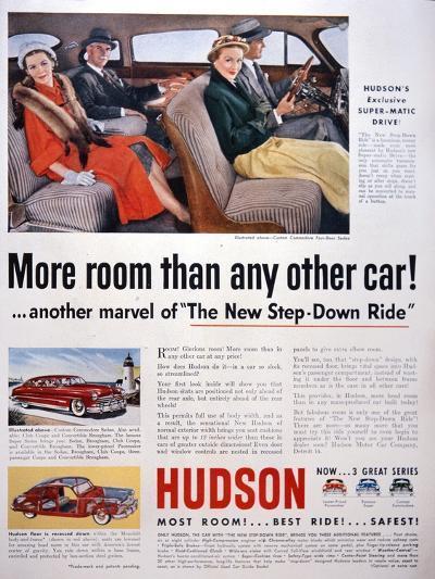 Advertisement for Hudson Cars, 1950--Giclee Print