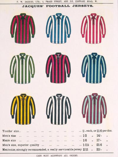 Advertisement for Jacques' Football Jerseys, from 'Boy's Own Paper'--Giclee Print