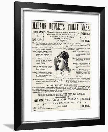 Advertisement for 'Madame Rowley's Toilet Mask', 1890s--Framed Giclee Print