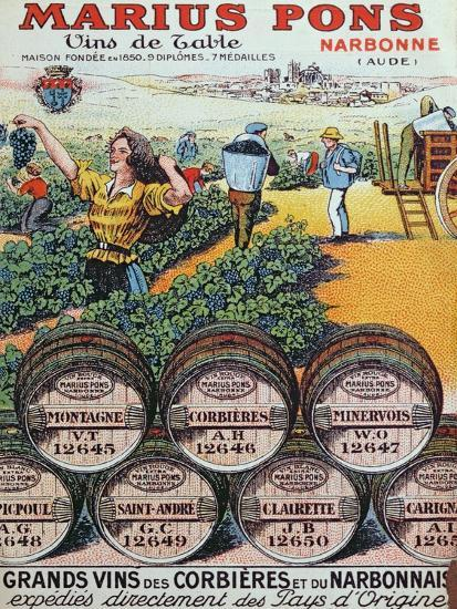 Advertisement for 'Marius Pons' Wine Merchants in Narbonne, France, Early 20th Century--Giclee Print
