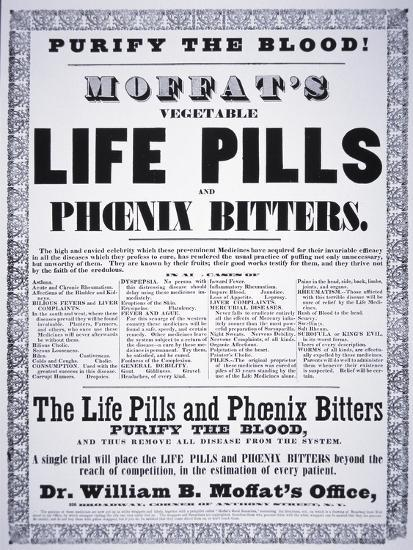 Advertisement for 'Moffat's Vegetable Life Pills and Phoenix Bitters', C.1860--Giclee Print