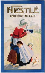 Advertisement for Nestle Chocolat Au Lait, C.1920 (Colour Litho)