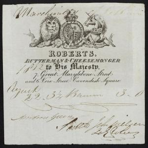 Advertisement for Roberts, Butterman and Cheesemonger, London