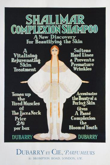 Advertisement for Shalimar Complexion Shampoo by Dubarry, 1930--Giclee Print