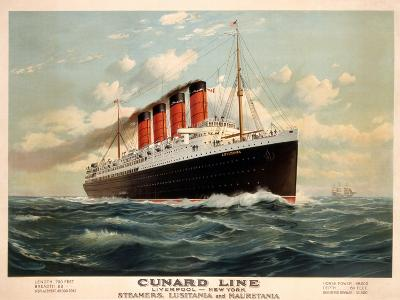 Advertisement for the Cunard Line, C.1908 (Colour Litho)-Fred Pansing-Giclee Print