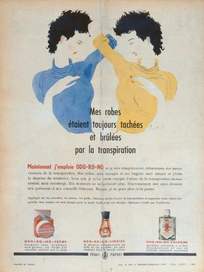 Advertisement for the Deodorants Odo-Ro-No, Illustration from 'Marie-France' Magazine, 1949--Giclee Print