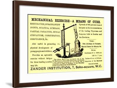Advertisement for the 'Mechanical Exercise' Available at the 'Zander Institution', 1890s--Framed Giclee Print