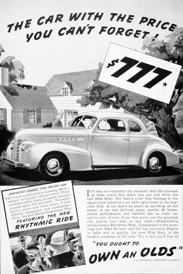 Advertisement for the Oldsmobile Olds Sixty, 1939--Giclee Print