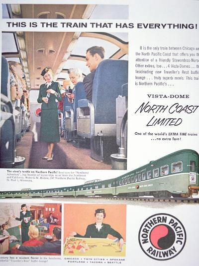 Advertisement for the 'Vista-Dome North Coast Limited' Train of the Northern Pacific Railway, 1956--Giclee Print