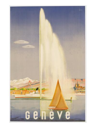 Advertisement for Travel to Geneva, C.1937 (Colour Litho)-Fehr-Giclee Print