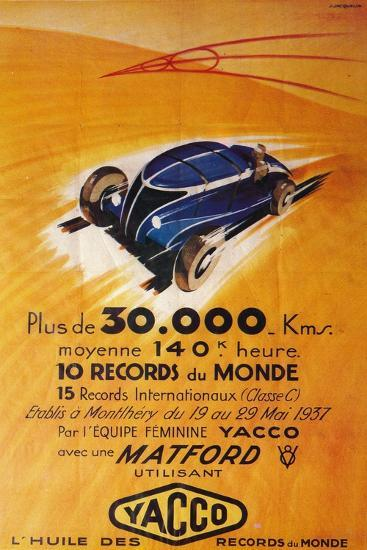 Advertisement for Yacco motor oil, c1937-Unknown-Giclee Print