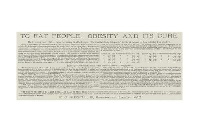 Advertisement, Mr Russell's Remedy for Corpulency--Giclee Print