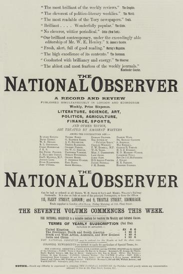 Advertisement, the National Observer--Giclee Print