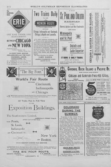 Advertisements from the World's Columbian Exposition Illustrated--Giclee Print