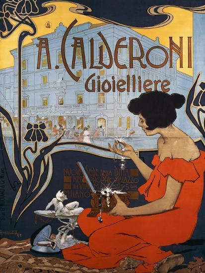 Advertising Poster for Calderoni Jewelers in Milan-Adolfo Hohenstein-Giclee Print