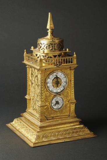 Aedicule-Shaped Augsburg Gilt and Pierced Bronze Table Clock with Two Dials--Giclee Print