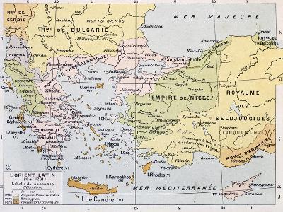 Aegean Region In 13Th Century Old Map-marzolino-Art Print