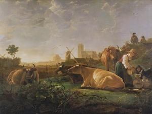 A Distant View of Dordrecht with Sleeping Herdsman and Five Cows by Aelbert Cuyp