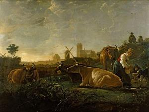 A Milkmaid and Cattle near Dordrecht. National Gallery. by Aelbert Cuyp