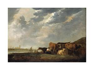 Cattle Near the Maas, with Dordrecht in the Distance by Aelbert Cuyp
