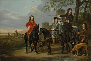 Equestrian Portrait of Cornelis and Michiel Pompe van Meerdervoort with Tutor & Coachman, c.1652-53 by Aelbert Cuyp