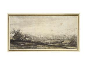 Extensive Landscape with Cottage and Cattle (Black Chalk, Grey and Yellow Wash) by Aelbert Cuyp
