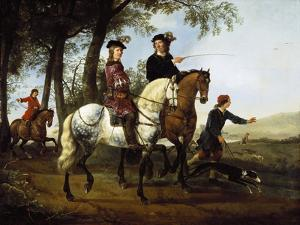 Landscape with Sportsmen Setting Out for the Hunt, Early 1650S by Aelbert Cuyp
