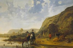 River Landscape with Riders, 1655 by Aelbert Cuyp