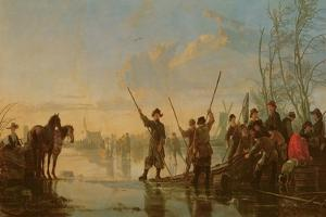 Skating Scene with the Maas at Dordrecht, C.1655-60 by Aelbert Cuyp