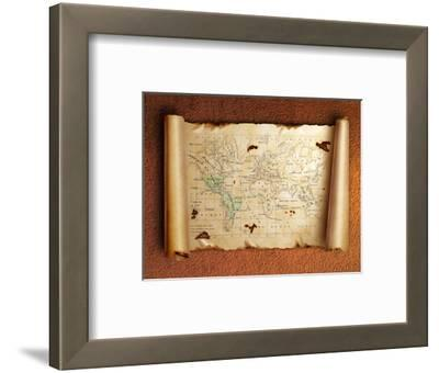 Ancient Scroll Map With Curled Edges