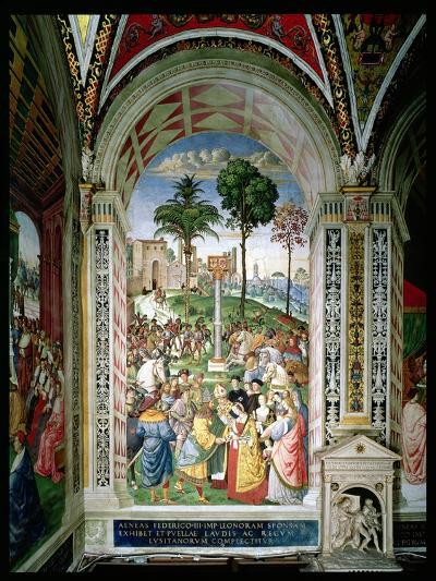 Aeneas Sylvius Piccolomini (1405-64) Presents Eleonora of Aragon to Frederick III (1415-93) on…-Bernardino di Betto Pinturicchio-Giclee Print