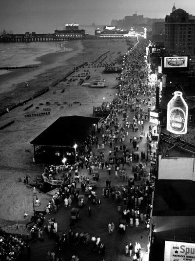 Aerial at Dusk of Beach, Boardwalk and Pier of Resort and Convention City-Alfred Eisenstaedt-Photographic Print