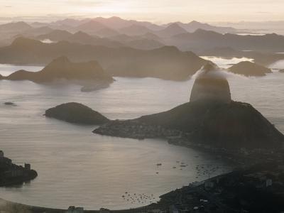 Aerial at Dusk of Sugar Loaf Mountain and Rio de Janeiro-Dmitri Kessel-Photographic Print