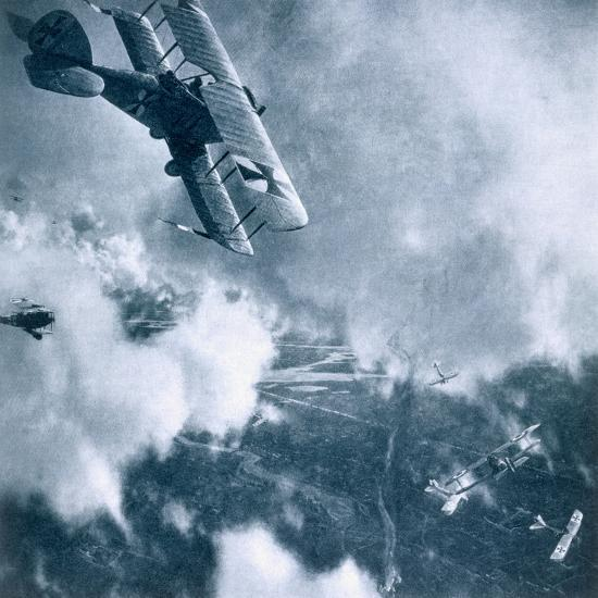 Aerial combat on the Western Front, World War I, 1914-1918-Unknown-Photographic Print