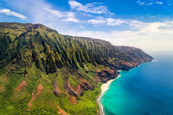 Aerial Landscape View of Spectacular Na Pali Coast, Kauai, Hawaii, USA-Martin M303-Photographic Print