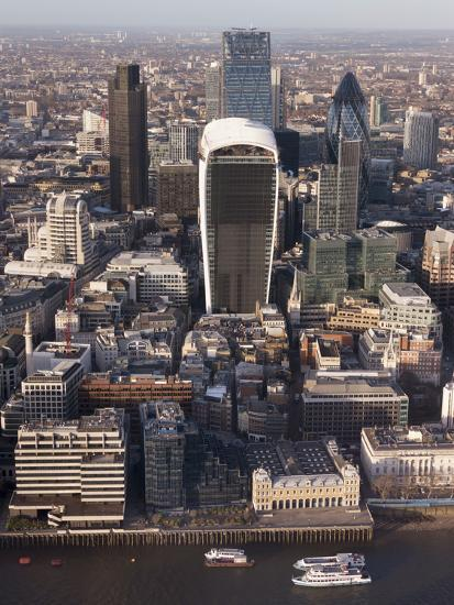 Aerial London Cityscape Dominated by Walkie Talkie Tower, London, England, United Kingdom, Europe-Charles Bowman-Photographic Print