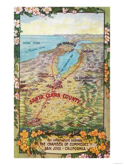 Aerial Map of Santa Clara County - San Jose, CA-Lantern Press-Art Print